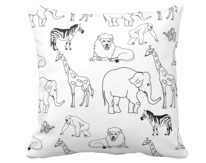 "Jungle Animals Throw Pillow or Cover, Black/White 14, 16, 18, 20"" Sq Pillows/Covers, Gender Neutral Nursery/Modern/Animal Print/Pattern"