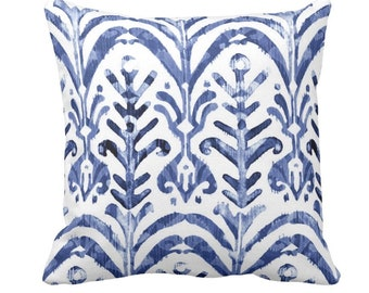 "Watercolor Print Throw Pillow or Cover, Indigo/White 14, 16, 18, 20 or 26"" Sq Pillows or Covers, Blue/Navy Ikat/Boho/Pattern/Design"