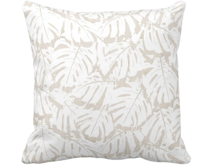 """Palm Print Throw Pillow or Cover, Sand/White 14, 16, 18, 20, 26"""" Sq Pillows or Covers, Beige/Tan Modern/Tropical/Leaf/Leaves/Pattern"""