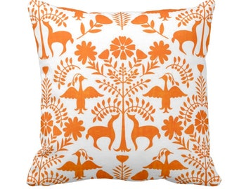 """OUTDOOR Otomi Throw Pillow or Cover, White/Orange 14, 16, 18, 20, 26"""" Sq Pillows/Covers, Bright Boho/Floral/Animals/Nature/Birds/Trees Print"""
