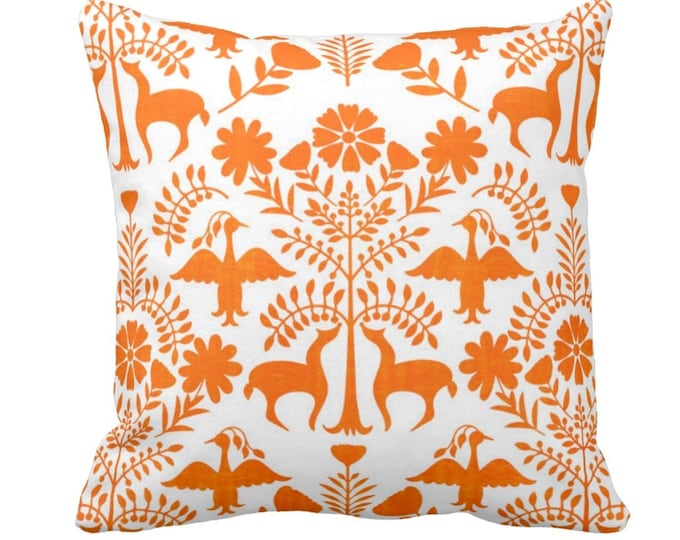"OUTDOOR Otomi Throw Pillow or Cover, White/Orange 14, 16, 18, 20, 26"" Sq Pillows/Covers, Bright Boho/Floral/Animals/Nature/Birds/Trees Print"