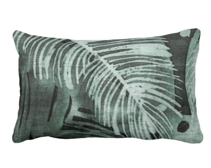 """OUTDOOR Tropical Leaves Print Throw Pillow or Cover, Kale 14 x 20"""" Lumbar Pillows/Covers, Batik/Painted Palm Deep Green Jungalo"""