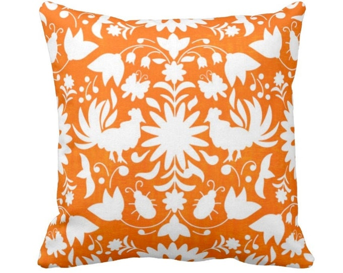 """Otomi Throw Pillow or Cover, Orange/White 14, 16, 18, 20, 26"""" Sq Pillows or Covers, Mexican/Boho/Floral/Animals/Nature Print/Pattern"""
