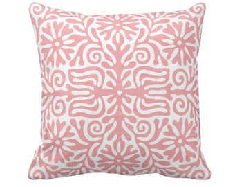 """Folk Floral Throw Pillow or Cover, Light Pink/White 14, 16, 18, 20 or 26"""" Sq Pillows or Covers, Pastel Mexican/Boho/Bohemian/Tribal"""