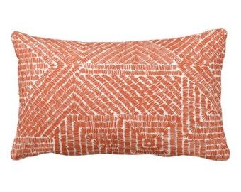 "OUTDOOR - READY 2 SHIP Tribal Geo Throw Pillow/Cover, Terracotta 14 x 20"" Lumbar Pillows/Covers, Orange Geometric/Geo/Diamond Pattern/Print"