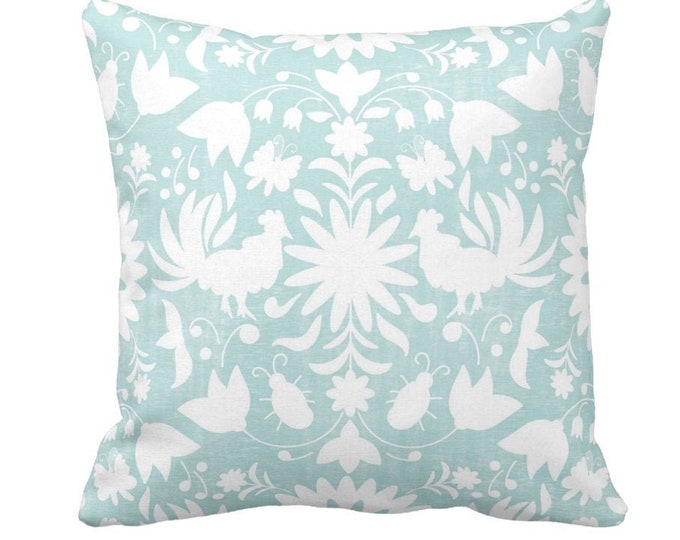 """Otomi Throw Pillow or Cover, Sea Glass/White 14, 16, 18, 20, 26"""" Sq Pillows or Covers, Blue Mexican/Boho/Floral/Animals/Nature Print"""