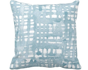 """OUTDOOR Ready 2 Ship - Watercolor Grid Throw Pillow Cover 20"""" Sq Pillows/Covers, Dusty Blue/Green/White Pattern, Light Aqua/Turquoise"""