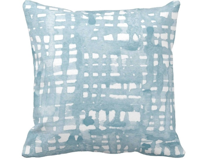 "OUTDOOR Watercolor Grid Throw Pillow Cover 20"" Sq Pillows/Covers, Dusty Blue/Green/White Pattern, Light Aqua/Turquoise"