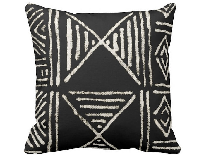 """Mud Cloth Print Throw Pillow or Cover, Black & Off-White 14, 16, 18, 20 or 26"""" Sq Pillows or Covers, Mudcloth/Boho/Geometric/African"""