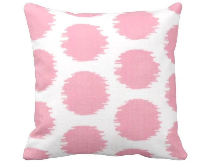 """Ikat Dot Print Throw Pillow or Cover, Pink/White Geometric 14, 16, 18, 20 or 26"""" Sq Pillows or Covers, Light/Pastel Circles Pattern"""