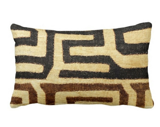 "PRINTED Kuba Cloth Throw Pillow or Cover, Beige/Brown/Black 14 x 20"" Lumbar Pillows/Covers, African Tribal/Traditional/Boho Print/Design"