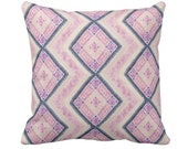 Chinese Wedding Blanket PRINTED Throw Pillow or Cover, Pink Blue 16, 18, 20 or 26 quot Sq Pillows or Covers, Thai Embroidered, Pastel