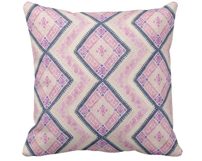 """Chinese Wedding Blanket PRINTED Throw Pillow or Cover, Pink/Blue 16, 18, 20 or 26"""" Sq Pillows or Covers, Thai Embroidered, Pastel"""