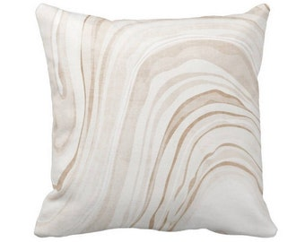 """Marble Print Throw Pillow or Cover, Sand/White 14, 16, 18, 20 or 26"""" Sq Pillows or Covers, Beige Modern/Abstract/Marbled/Swirl/Art"""