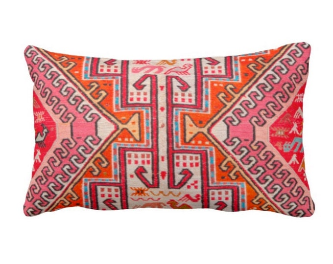 "Colorful Kilim Print Throw Pillow or Cover, Boho Rug 14 x 20"" Lumbar Pillows or Covers, Pink/Orange/Red Tribal Geometric/Geo"