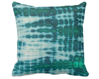 "OUTDOOR Acid Teal & Emerald Throw Pillow or Cover, 16, 18 or 20"" Square Pillows or Covers, Hand-Dyed Effect, Shibori/Mud Cloth"