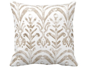 """Watercolor Print Throw Pillow or Cover, Beige/White 14, 16, 18, 20 or 26"""" Sq Pillows or Covers, Ikat/Boho/Tribal/Geo/Pattern/Design"""