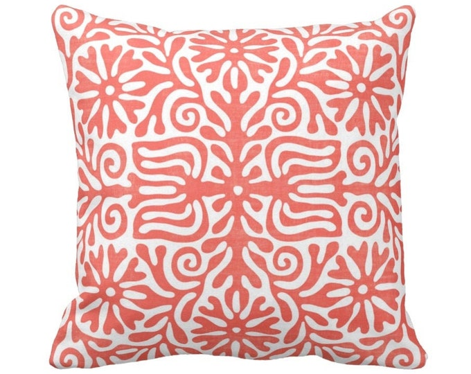 "Folk Floral Throw Pillow or Cover, Coral/White 14, 16, 18, 20 or 26"" Sq Pillows or Covers, Pink/Orange Mexican/Boho/Bohemian/Tribal"