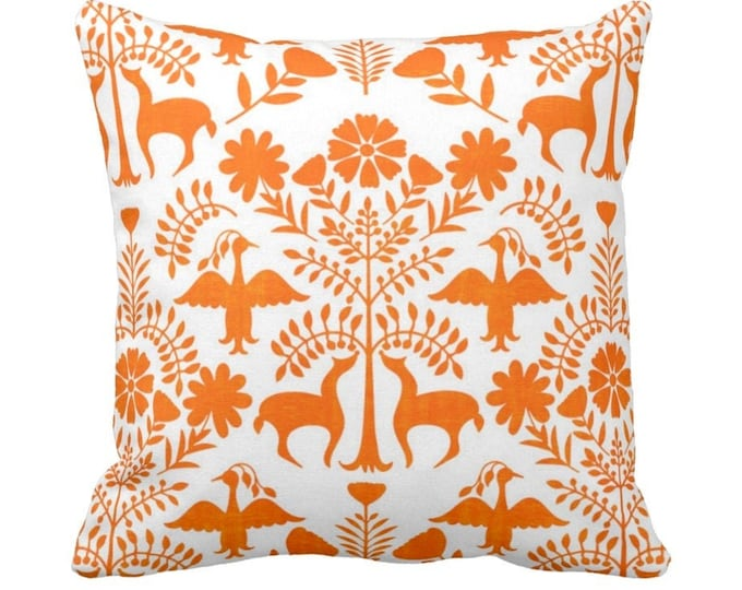 "Otomi Throw Pillow or Cover, White/Orange 14, 16, 18, 20, 26"" Sq Pillows or Covers, Bright Mexican/Boho/Floral/Animals/Nature Print"