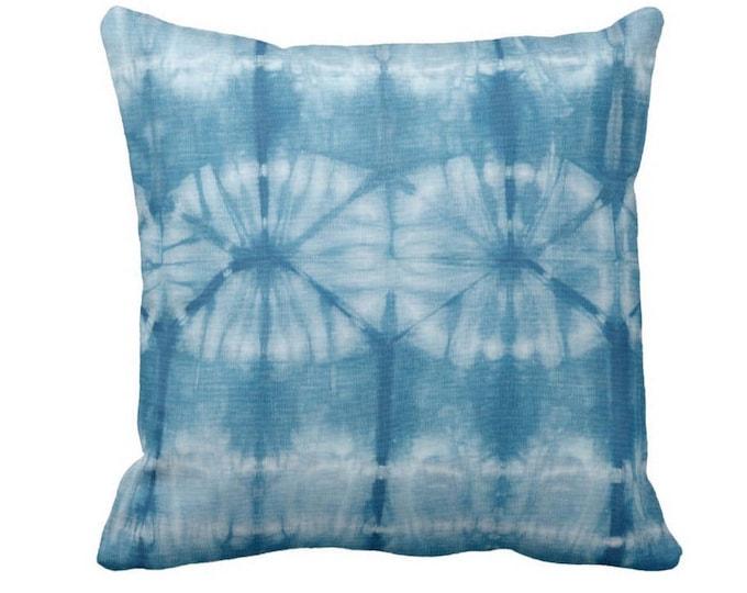 "OUTDOOR Indigo Printed Mud Cloth Throw Pillow or Cover 14, 16, 18, 20, 26"" Sq Pillows/Covers, Blue Mudcloth/Boho/Tribal/Geometric Print"