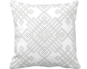 "Interlocking Geo Throw Pillow or Cover, Gray/White 14, 16, 18, 20 or 26"" Sq Pillows or Covers, Modern/Geometric/Trellis/Lattice Print"