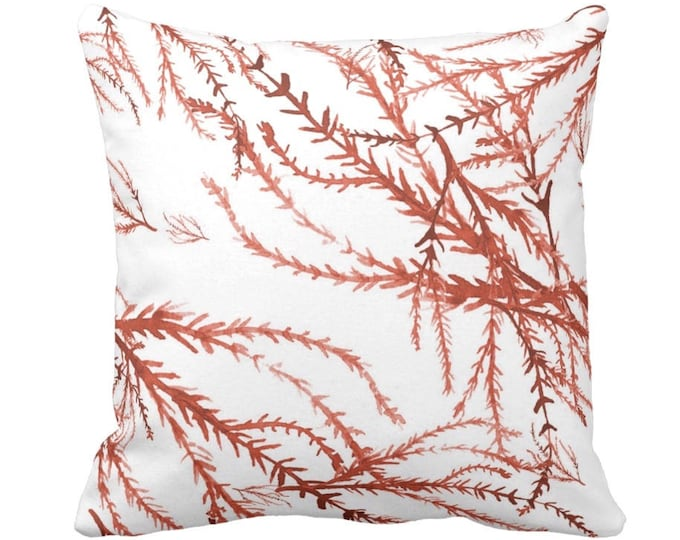 """Watercolor Branches Throw Pillow or Cover, Burnt Orange & White Print 14, 16, 18, 20, 26"""" Sq Pillows/Covers, Coral Nature/Botanical Pattern"""