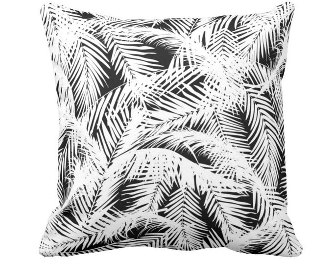 "Palm Leaves Throw Pillow or Cover, Black & White Print 14, 16, 18, 20 or 26"" Square Pillows or Covers, Modern Tropical/Botanic Pattern"