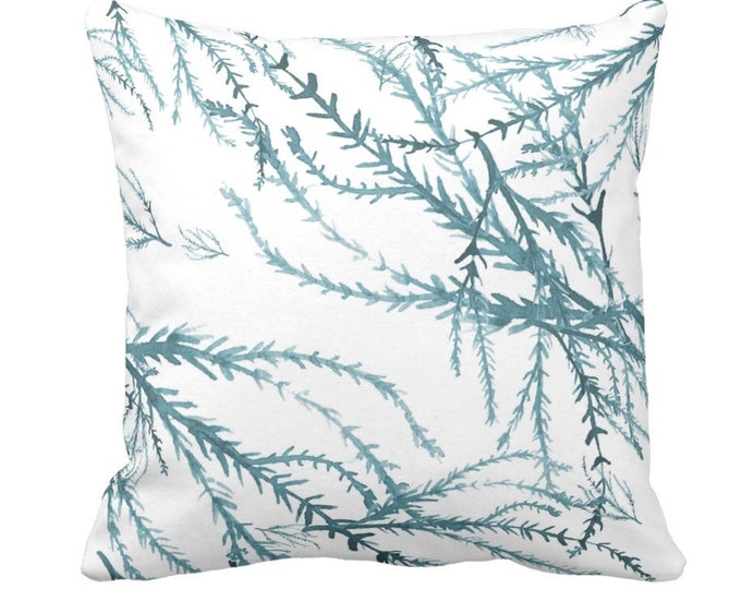 """Watercolor Branches Throw Pillow or Cover, Sea Glass/White Print 14, 16, 18, 20 or 26"""" Pillows or Covers, Blue/Green Nature Pattern"""
