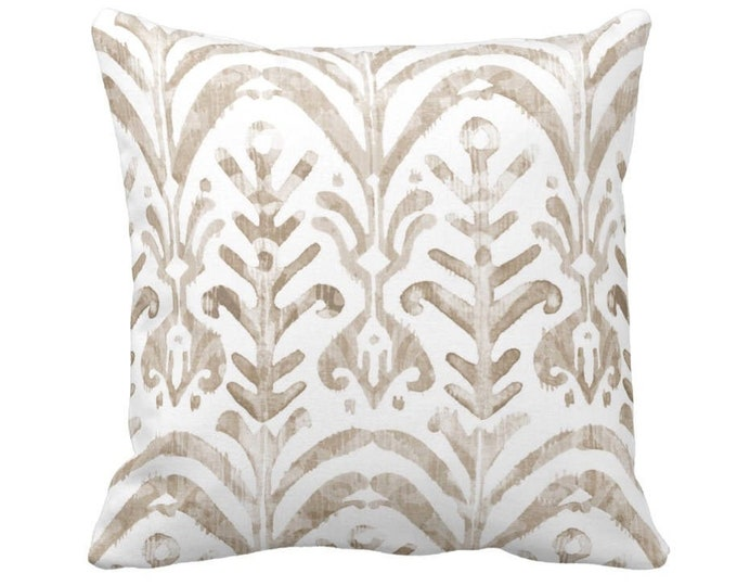 """OUTDOOR Watercolor Print Throw Pillow or Cover, Beige/White 14, 16, 18, 20, 26"""" Sq Pillows/Covers, Ikat/Boho/Tribal/Abstract/Floral Pattern"""