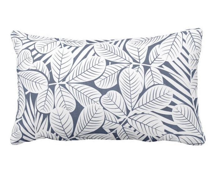 "OUTDOOR Modern Leaves Throw Pillow or Cover, Navy & White Print 20 x 14"" Lumbar Pillows/Covers, Dark/Deep Blue Retro Tropical Print/Pattern"