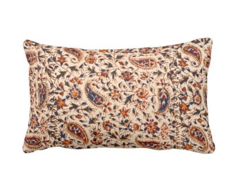 "Retro Paisley Throw Pillow or Cover, Natural, Navy, Red & Orange 14 x 20"" Lumbar Pillows or Covers, Vintage 70s Textile Print"