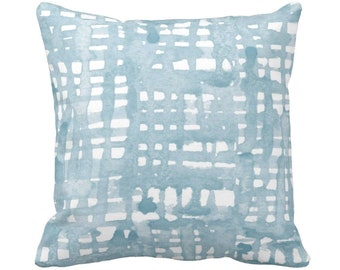 "READY Watercolor Grid Throw Pillow or Cover, Dusty Blue/White Pattern 20"" Sq Pillows or Covers, Iced/Light/Silver"