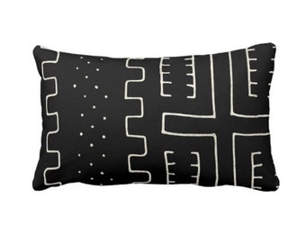 """OUTDOOR Mud Cloth Print Throw Pillow or Cover, Black & Off-White 14 x 20"""" Lumbar Pillows/Covers, Mudcloth/Boho/Tribal/Geometric/Geo/Lines"""