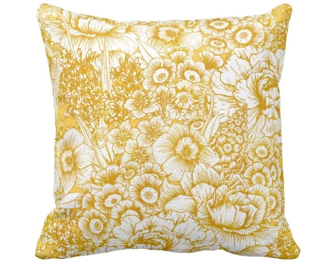 """OUTDOOR Retro Floral Throw Pillow or Cover, Mustard Seed & White 16, 18 or 20"""" Square Pillows or Covers, Dark Yellow/Gold/Goldenrod"""
