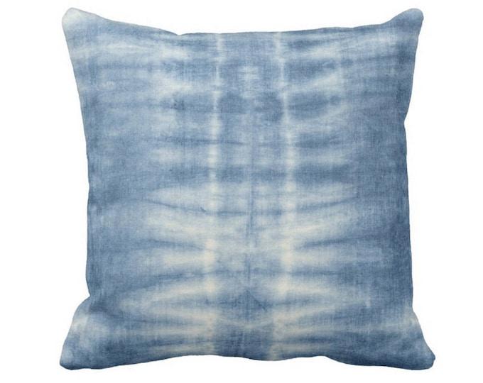 """OUTDOOR Indigo Mud Cloth Lines Print Throw Pillow Cover, 14, 16, 18, 20, 26"""" Sq Pillow Covers, Blue Mudcloth/Stripes/Geometric/Boho"""