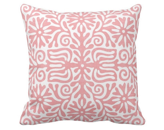 """OUTDOOR Folk Floral Throw Pillow or Cover, Light Pink/White 16, 18, 20"""" Sq Pillows or Covers, Pastel Mexican/Boho/Bohemian/Tribal"""