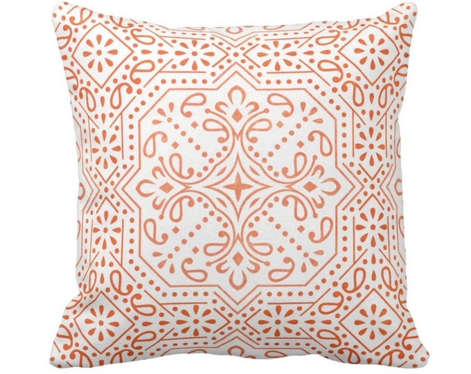 "Tile Print Throw Pillow or Cover, Ivory/Coral 14, 16, 18, 20 or 26"" Sq Pillows or Covers, Orange/Red Trellis Geometric/Batik Pattern"
