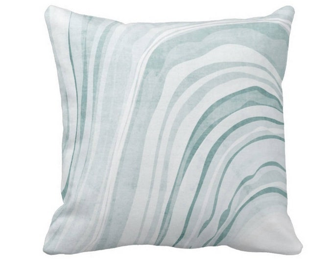 """OUTDOOR Marble Print Throw Pillow or Cover, Lagoon/White 14, 16, 18, 20 or 26"""" Sq Pillows/Covers, Teal/Blue/Green Marbled/Waves Pattern"""