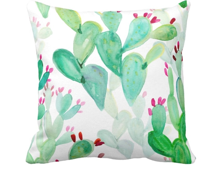 "OUTDOOR Watercolor Cactus Print Throw Pillow/Cover, Colorful Green/Pink 14, 16, 18, 20, 26"" Sq Pillows/Covers Hand Painted Emerald Southwest"