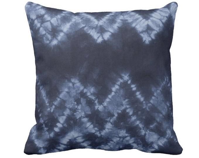 "Chevron Throw Pillow or Cover, Navy/Indigo 14, 16, 18, 20 or 26"" Sq Pillows or Covers, Dark Blue Tribal/Geometric/Shibori/Boho/Boho Print"