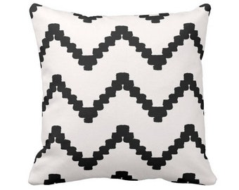 """OUTDOOR Chunky Chevron Print Throw Pillow or Cover, Black & White 14, 16, 18, 20 or 26"""" Sq Pillows/Covers, Geometric Stripe Pattern"""