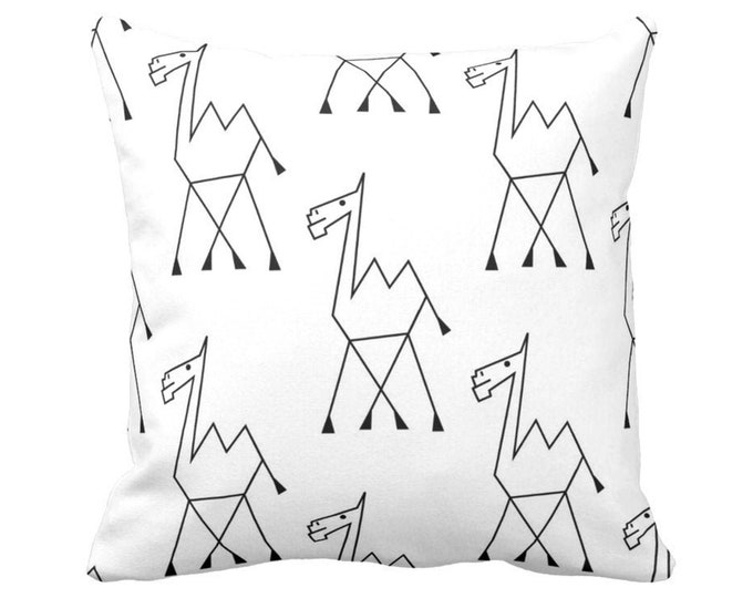 "Camel Sketch Print Throw Pillow or Cover, Tribal Black and White Pattern 14, 16, 18, 20 or 26"" Square Pillows or Covers"
