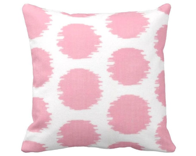 "OUTDOOR Ikat Dot Print Throw Pillow or Cover, Pink/White Geometric 14, 16, 18, 20, 26"" Sq Pillows/Covers Rose Geometric/Tribal/Boho Pattern"