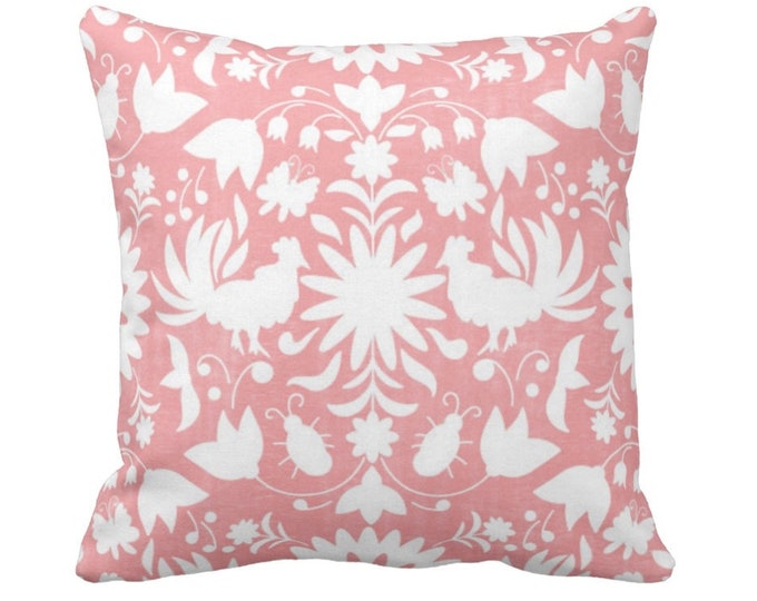 """OUTDOOR Otomi Throw Pillow or Cover, Light Pink/White 14, 16, 18, 20, 26"""" Sq Pillows/Covers, Boho/Floral/Animals/Rooster/Birds/Flowers Print"""
