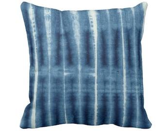 "OUTDOOR Indigo Mud Cloth Print Throw Pillow or Cover, Geometric Lines 14, 16, 18, 20, 26"" Sq Pillows/Covers, Blue Mudcloth/Stripes/Stripe"