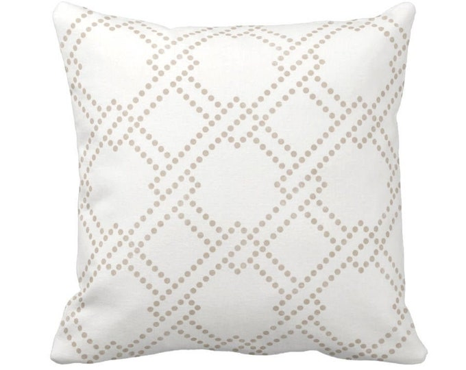 """Linked Squares Throw Pillow or Cover, Beige/White 14, 16, 18, 20, 26"""" Sq Pillows or Covers, Geo/Geometric/Trellis/Lattice Print/Pattern"""