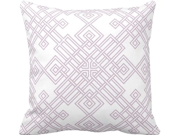 """Interlocking Geo Throw Pillow or Cover, Dusty Mauve/White 14, 16, 18, 20, or 26"""" Sq Pillows or Covers, Purple/Pink Trellis Print"""