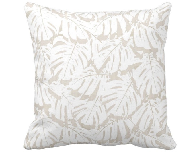 """OUTDOOR Palm Print Throw Pillow or Cover, Sand/White 14, 16, 18, 20, 26"""" Sq Pillows/Covers, Beige Modern/Tropical/Botanical/Leaves/Pattern"""