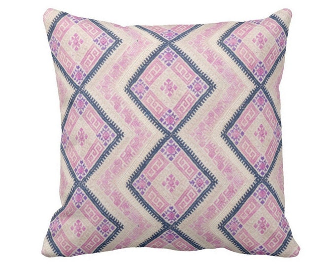 """OUTDOOR Chinese Wedding Blanket PRINTED Throw Pillow or Cover, Pink/Blue 14, 16, 18, 20"""" Sq Covers, Thai Tribal/Geometric/Diamonds/Geo Print"""