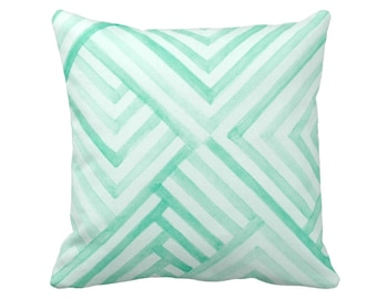 """OUTDOOR Watercolor Geo Throw Pillow or Cover, Mint & White Print 16, 18 or 20"""" Square Pillows or Covers, Geometric Blue/Green Chevron Stripe"""